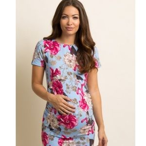 PinkBlush Blue Floral Fitted Maternity Dress